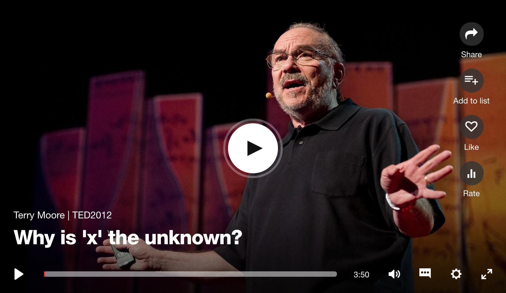 TED TALK「なぜ 'X' は未知を表すのか?」